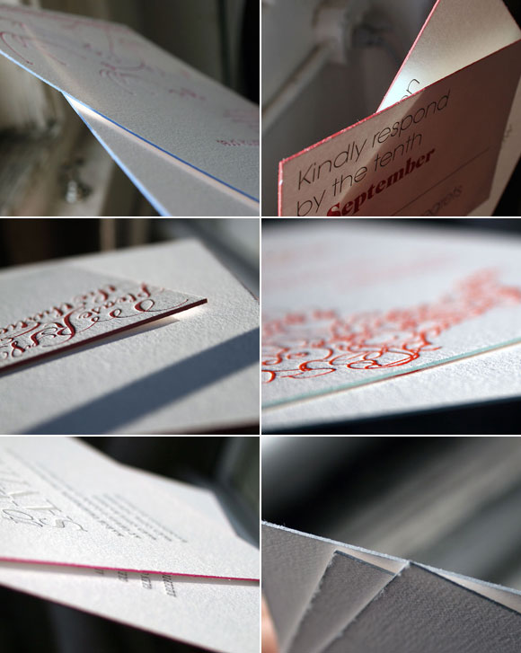 Edge painting on letterpress wedding invitations - Bella Figura