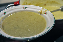 leek soup in bowl