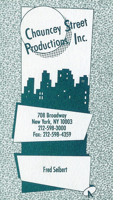 Chauncey Street Productions: business card