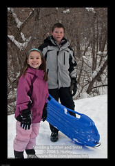 Sledding Brother and Sister