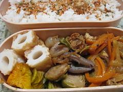 bento 12.30.08 (mamichan) Tags: rice pork squash carrot bento onion eats celery brusselssprout localeats furikake chikuwa
