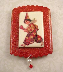 Valentine Red Clown 2 with Swarovski Crystals Polymer Clay ACEO