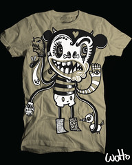 Mick (WOTTO*) Tags: white black cute bird shirt illustration dark mouse design words scary designer drawing cream evil tshirt mickey doodle type characters illustrator tee vector beasts dbh wotto designbyhumnas
