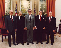 1991 Five Former Presidents Gerald Ford, Richard Nixon, George H W Bush, Ronald Reagan, & Jimmy Carter (Beverly & Pack) Tags: usa ford dedication america ronald us unitedstates five library politics jimmy nixon presidential gerald american richard reagan government carter 1991 republican georgehwbush democrat presidents publicdomain dedicate