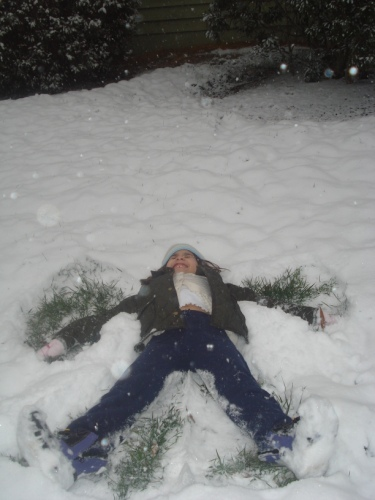 Yv making a snow angel