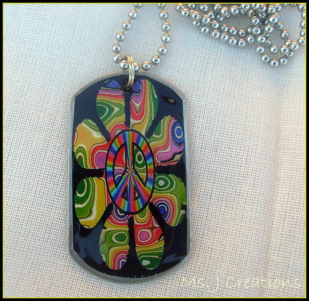 Flowe/Peace Symbol Dog Tag Necklace