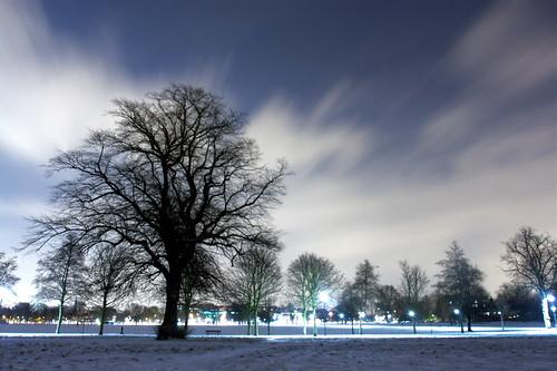 Clapham Common on a snowy night