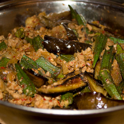Sambal Belacan Aubergine and Ladies Fingers