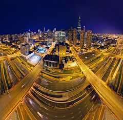Chicago Loop extreme panoramic (Rasidel Slika) Tags: autostitch panorama chicago skyline night skyscraper buildings highway cityscape sears searstower perspective skybridge panoramic expressway roads merge i94 chicagoist danryan willistower