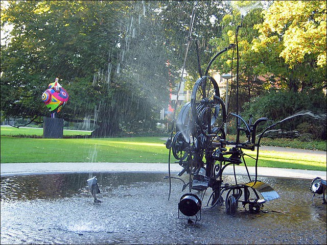tinguely in front of his museum, basel