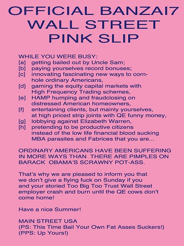 OFFICIAL BANZAI7 WALL STREET PINK SLIP by Colonel Flick