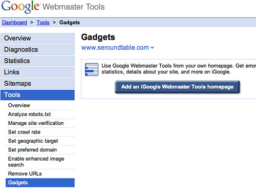 Google Gadgets for Webmaster Tools