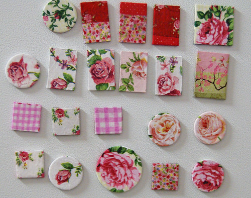 Shabby chic magnets I made