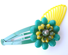 Green and Yellow Vintage Flowers Barrette