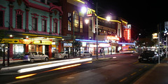 Modern Courtenay Place (wiifm) Tags: longexposure newzealand night lights nightshot traffic wellington glowing courtenayplace panasonicdmctz3