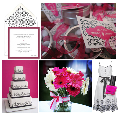 black, white, hot pink sweet 16 / party / shower inspiration board