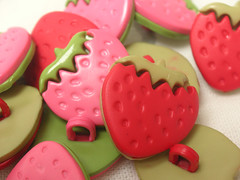 Flat Strawberry Buttons