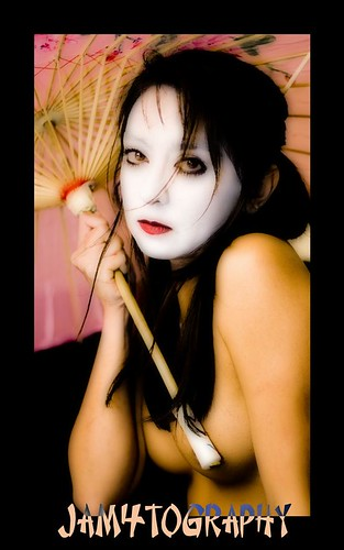 Geisha -- sexy nude art white face naked geisha paint asian alien breast ...