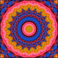Comin' at Ya! (Lyle58) Tags: pink red orange abstract green geometric colors yellow circle feathers kaleidoscope mandala symmetry zen harmony reflective symmetrical balance circular kaleidoscopic kaleidoscopes kaleidoscopefun kaleidoscopesonly brandyshaul