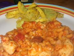 Mediterranean Chicken Pasta & Garlic Pan-fried Squash