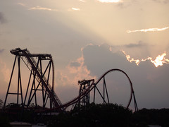 best of both worlds: rollercoasters, and sunsets (kevkev44) Tags: sunset gardens clouds landscape steel bm rollercoaster coaster buschgardens busch buschgardenstampa bga sheikra bgt buschgardensafrica bolligerandmabillard divecoaster divemachine