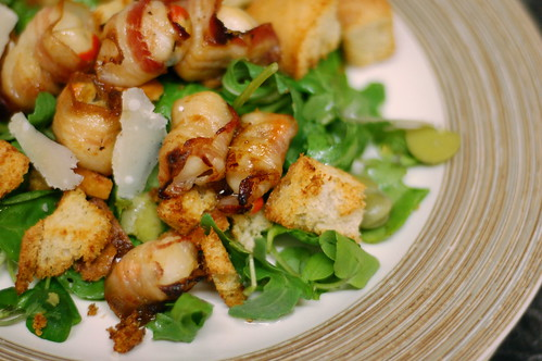 Smoked pancetta wrapped scallops with broad beans and toasted ciabatta