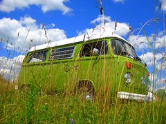 Feelin' Groovy (Flare) Tags: camping camp bus green grass vw clouds volkswagen vibrant hippy bluesky lime van hillside overflow guelphlake