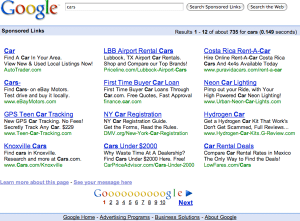 Google Ad Search Redesign