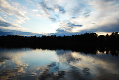 Ivalo - Lappland  23:30 (Gianluca Bergamaschi) Tags: panorama reflection suomi finland landscape lapland midnight almost luce sera finlandia lapponia ivalo