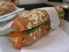 Smoked Salmon, Creme Fraiche, Capers, Onion, Roquette, multigrain baguette - The French Quarter