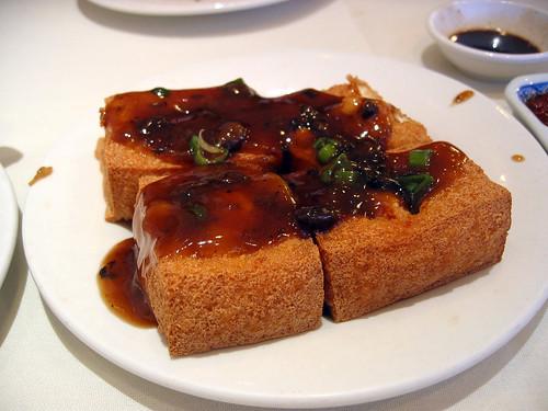 Fried tofu squares with black bean sauce