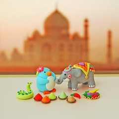 Pingie in India ({JooJoo}) Tags: blue india elephant toys penguin miniature colorful snake indian spice craft polymerclay etsy multicolor dollhouse joojoo minisculpture redhotpepper