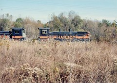 Southbound Indiana Harbor Belt transfer train. Alsip Illinois. Late October 1990.