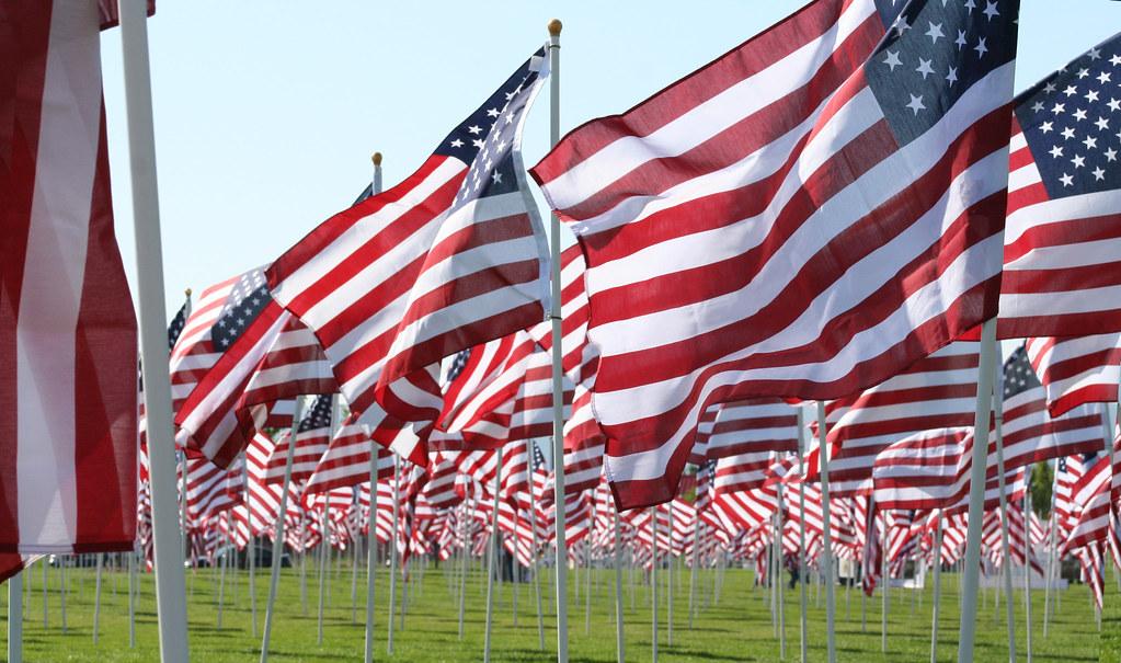 flag dispayed in Sandy Utah's Healing field