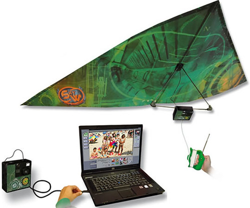 Latest Spy Gadgets /></p> <p>This kite allows you to take digital images from nearly 80 feet up. Once you've landed the kite, simply connect the camera to your computer and transfer the photos via USB.</p> <h2>Hi Tech spy gadget for hearing sounds</h2> <p><img src=