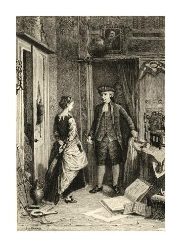 013-  El anticuario y Lovel- El Santuario- Dibujado por Robert Herdman y grabado por B.Dammon para la novela The Antiquary de W. Scott