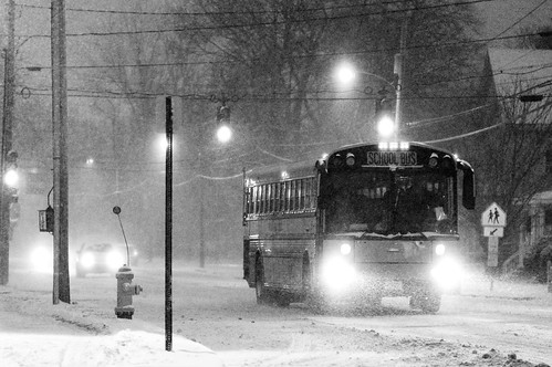 "School Bus Approaching (""Kids forced to go to school in snow storm."")"