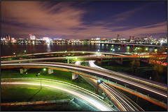 Places to Go (Pear Biter) Tags: longexposure cambridge motion cars boston underpass interestingness nightshot traffic charlesriver bridges overpass onramp nightsky lighttrails fenway kenmore 1022mm massavebridge 30d bostonist storrowdrive exitramp