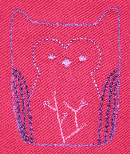 pink owl bib detail