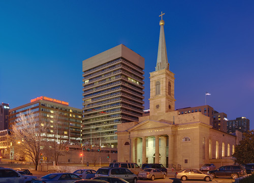 Basilica of Saint Louis, King of France (Old Cathedral), in Saint Louis, Missouri, USA - exterior at dusk