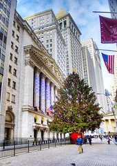 Holiday Wall St. (Tony Shi Photos) Tags: nyc newyorkcity tree financialdistrict merrychristmas hdr banks nyse holidayseason downtownmanhattan    nikond700     thnhphnewyork  tonyshi wallstreetst