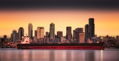 Typical Seattle View~ (JMR Visuals) Tags: ocean seattle city cruise sunset red water skyline night digital sunrise lights ship dynamic jonathan salt dry sound oil filters non range increase carrier hdr tanker puget michaels refelction blend bulk shipment blending shipyards cokin addictedtoflickr grouptripod thebestofcengizsqueezeme2groups