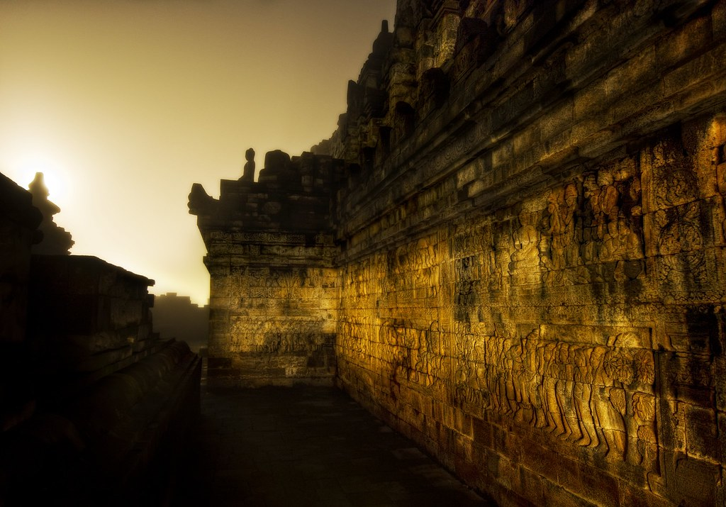 The Dark Temple Corridor in Morning Mist at 4 AM (by Stuck in Customs)