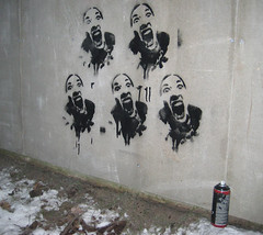 Screaming girl, 5 times on the wall by jX Stencils