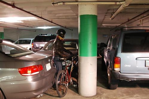 Bike parking under an office building, Baltimore