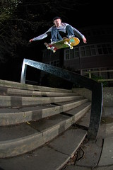 Dave Price - Ollie over Rail (Cherryrig) Tags: school dave night nikon stair flash d70s rail fisheye ledge skate t2 sb26 105mmf28gfisheye sb25 qflash cherryrig