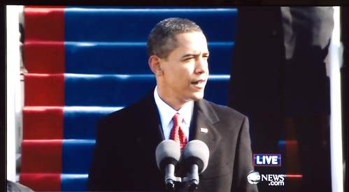 Obama delivering his Presidential address