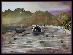"""Waterdance"" (outragousart2008) Tags: fish mountains art digital landscape 3d digitalart surreal fantasy dolphins computerart whale bryce digitallandscape outragousart graphicmaster"
