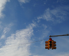 STOP and look around (s5r5h) Tags: newyork sunshine brooklyn clouds bluesky stoplight redlight redhook