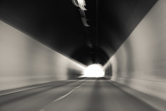 Light at the end (Adam Polselli) Tags: usa blur monochrome colorado tunnel roadtrip lightattheend